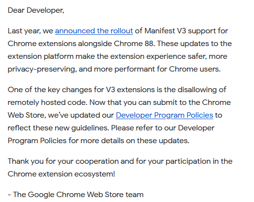 Chrome Web Store – Policy update